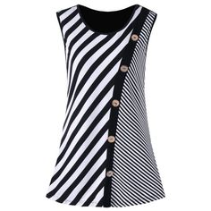 Plus Size Button Embellished Striped Tank Top – Black White Rosewholesale welcomes customers worldwide, offering them best customer service and large collection of high quality products at cheap price. Striped Tank Top, Striped Dress, Dress Black, Dress Red, Trendy Dresses, Nice Dresses, Plus Size Pullover, Casual Outfits, Fashion Outfits