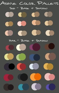 anime color pallets by KayeShepherd on DeviantArt Skin Color Palette, Palette Art, Color Palate, Digital Art Tutorial, Digital Painting Tutorials, Art Tutorials, Drawing Techniques, Drawing Tips, Color Combos