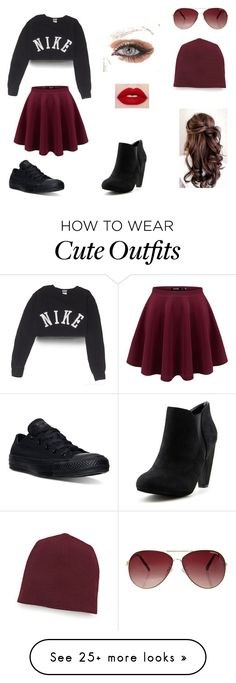 """""""Cute yet simple teen outfit"""" by teatime101 on Polyvore featuring NIKE, Converse, MINKPINK and T By Alexander Wang"""