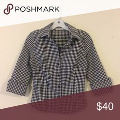 """Zara Button Down Checkered Blouse EUC black & white Top by Zara Basic. The material is 48% polyester 37% viscose 11% polyamide & 4% polyurethane. Very nice thick stretchy material. It does run small. Bust: 17"""" across unstretched, waist 14"""" across, 20"""" length shoulder to hem. Tag says large but please refer to measurements (fit more like a medium/8) Zara Tops Button Down Shirts"""