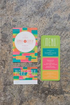 Neon wedding invitations | As Ever Photography | see more on: http://burnettsboards.com/2015/01/mid-century-modern/