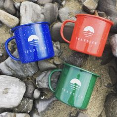 The Traveler enamel camp mug is here! Perfect for your morning coffee, oatmeal, sitting around the camp fire beer, camp cocktails and more.