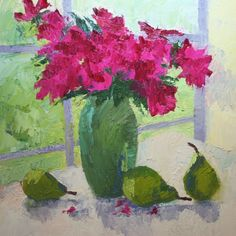 Roses By North Light in Old Lyme, painting by artist Roxanne Steed