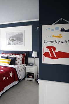The red quilt with the stars would be a great addition to my grandsons' room. Actually one twin sized like this and the other one blue and white striped! I have bunk beds in their room.