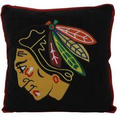 Chicago Blackhawks Big Logo Fleece Pillow - Black