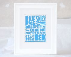 Tom Waits Blue Skies Over my Head Letterpress Print by rawartpress on etsy