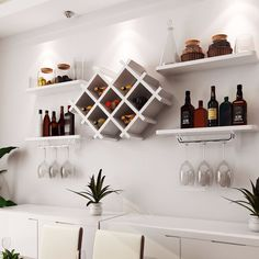 wall Shelves Bar - Details about Wall Mount Wine Rack Bottle Glass Holder 4 Shelves Bar Accessories Shelf 3 color. Wine Glass Shelf, Glass Shelves Kitchen, Wine Shelves, Floating Shelves, Hanging Wine Glass Rack, Kitchen Rack, Diy Home Bar, Bars For Home, Diy Bar