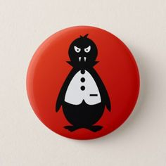 Vampire Penguin VZS2 Fiery Red Button - black gifts unique cool diy customize personalize