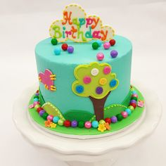 Just Look At This Adorable Patchwork Button And Tree Cake