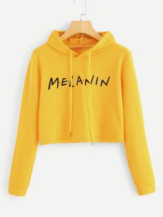 Shop Letter Print Drawstring Hoodie at ROMWE, discover more fashion styles online. Sweatshirts Online, Printed Sweatshirts, Hooded Sweatshirts, Hoodies, Romwe, Cute Jumpers, Jumper Outfit, Love Clothing, Shirt Skirt