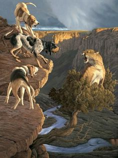 Gathering Storm This mountain lion, or cougar, has decided to hold up in this scrub pine hung out over a cliff to avoid the bayed up hounds. Wildlife Paintings, Wildlife Art, Animal Paintings, Animal Drawings, Drawing Animals, Horse Drawings, Drawing Art, Bear Hunting, Hunting Art