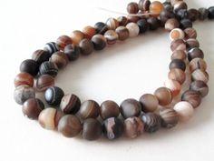 Madagascar Matte Swirl Beads  Round Agate Gemstone Beads