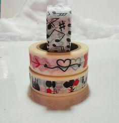 Washi Tape Full Rolls, Journal Masking Tape, Paper Craft Junk Journal Supplies, Heart Washi, Music N Masking Tape, Washi Tape, Scrapbook Supplies, Craft Supplies, Small Glass Jars, Handmade Wooden, Handmade Gifts, Stone Chips, Rug Hooking Patterns