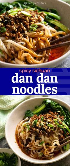 Dan Dan Noodles – the iconic spicy Sichuan Noodles, a flavour explosion with the iconic sesame chilli sauce and slippery noodles topped with a savoury Chinese five spiced pork topping, blanched greens and finished with a sprinkle of peanuts. Asian Recipes, Healthy Recipes, Ethnic Recipes, Dan Dan Noodles Recipe, Chinese Cooking Wine, Authentic Chinese Recipes, Recipetin Eats, Recipe Tin, Beef And Noodles