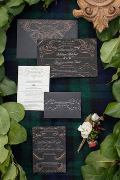 Gorgeous black and gold wedding invitation suite