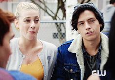 """No such thing as personal space between Betty and Jughead. xD the Blue and Gold colors! Juggie in Blue and Betty in Yellow! One more hour to go! """