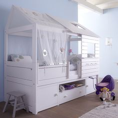 Various Kids Bedroom Design For You Today : Silver Sparkle Low Hut Bed White Wood Chair Toy Doll Carpet Wooden Floor With Blue Wall Interior Kids Bed Design, Canapé Design, Interior Design, Childrens Bedroom Furniture, Childrens Beds, Girls Cabin Bed, Cabin Beds, Unique Kids Beds, Grey Room