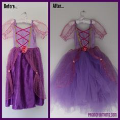 Princess dress make-overs!  ~ Is your daughter's once-gorgeous Disney princess dress looking - literally - a bit worse for wear?  Or ... maybe you bought a less expensive version but want to dress it up a bit? Here's how!