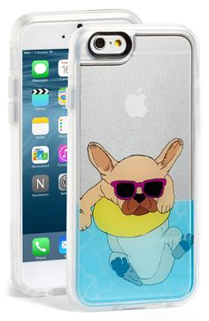 How cute is this? A chill French bulldog takes a dip in the pool wearing sweet shades and a yellow floatie on the back of this sturdy phone case.