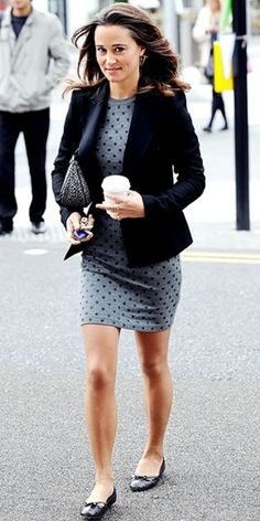 IT works!  a simple one piece dress + black blazer, it never goes wrong still look stunning even in FLATS!! -Louie