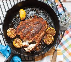 Squeeze a charred lemon half over each serving of this spicy, butter-seared Blackened Grouper to get the best flavor out of this dish.