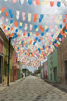 Mexico, Yucatan Peninsula, Yucatan, Celestun, flags hanging over road