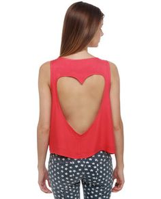 Heart Core Coral Red Top. backless detail. $29