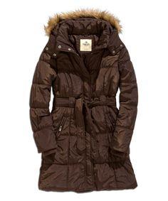 TIMEOUT Dark Coffee Faux Fur-Trim Hooded Puffer Coat | zulily