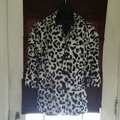 Animal print jacket Button down front with belt Cato Jackets & Coats