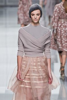 Dior Gray Fall 2012 3/4 Sleeved Knit Sweater with Wrap Up Deep Front Decolletage in Lavender