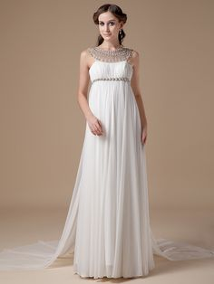 2016 New  Real Informal Empire Maternity Chiffon Beach Wedding Dresses Crystal Long Bohemian Bridal Gowns For Pregnant Women #Affiliate
