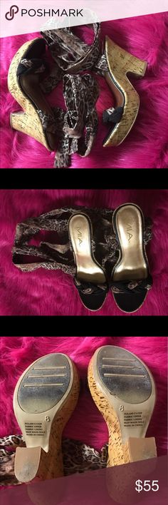 Mia Leopard Heel Tie up Sandal Sz8 Mia Leopard Tie up Heel Sandal is very cute!!! It's a Sz8. It's very nice and can be dressed up or down. It still has more wear. IF YOU LIKE PLEASE MAKE A REASONABLE OFFER!! MIA Shoes Sandals