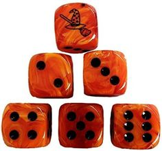 Custom & Unique {Standard Medium 16mm} 6 Ct Pack Set of 6 Sided [D6] Square Cube Shape Playing & Game Dice w/ Rounded Corner Edges w/ Witch Hat & Broom on Number 1 One Design [Orange & Black]