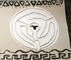 make a labyrinth picture out of string for ancient greece mythology topic