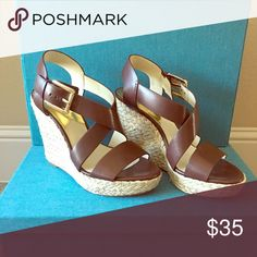 *Michael* Michael Kors espadrilles! beautiful brown with gold buckle. 4.5in heel size 7.  only worn once! MICHAEL Michael Kors Shoes Espadrilles