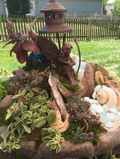 Fairy garden in the top of tier fountain by Kristin Middleton