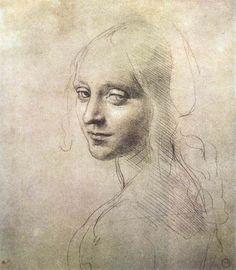 Leonardo da Vinci, Head of a Girl, c.1483 on ArtStack #leonardo-da-vinci #art