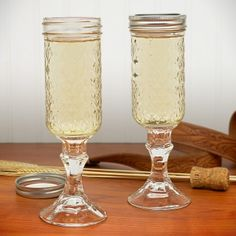 Cracked me up when I saw these....Redneck Mason Jar Champagne Glass Set, from HomeWetBar.com