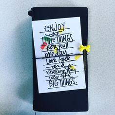 This is my #gratitude journal. I love this quote from #aliedwardsstorykit. It's perfect! #midoritravelersnotebook #travelersnotebook