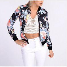 EIFFTER 2017 Spring Autumn Women Flower Printed Jackets Stand Collar Female Bomber Jacket Coat Top Coat Brand Tops 0083 #Affiliate