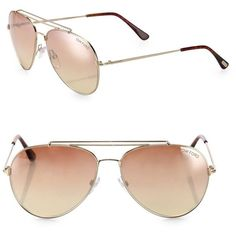 Tom Ford Eyewear Indiana 58MM Mirrored Aviator Sunglasses (8,480 MXN) ❤ liked on Polyvore featuring accessories, eyewear, sunglasses, apparel & accessories, gold, aviator glasses, uv protection sunglasses, mirror aviator sunglasses, mirror aviators and aviator style sunglasses