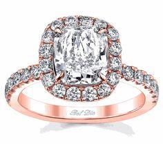 Diamond Halo Rose Gold Engagement Ring, drooooolllll