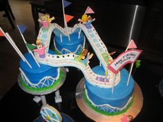 Roller Coaster - Gumpaste rollercoaster with fondant people and cake is buttercream.