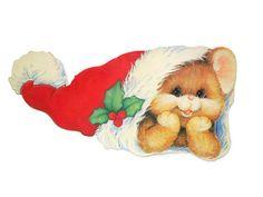 Cute Bear Flocked Christmas Die Cut Bulletin by melmacparadise