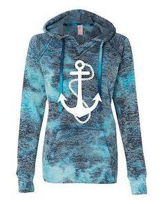 Anchor Bahama Blue Women's Hoodie Sweatshirt