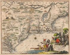 Nova Belgii Quod Nunc Novi Jork Vocatur. Novae Angliae & Partis Virginia Accuratissima Et Novissima Delineatio.  J. Ogilby, Montanus, Petrus. 1671. Centering on Long Island with place names in Latin. From either the Dutch Montanus or the English Ogilby that appeared almost simultaneously. Attractive map of Atlantic coast from Chesapeake Bay to what is now Canada.