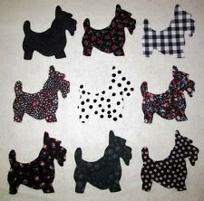 Iron On Fabric Appliques Dogs Pups 7 Little doggies Scotties Terriers