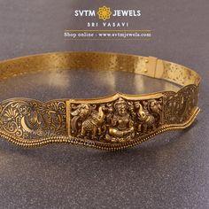 An extraordinary cutwork nagaas waist belt with a divine depiction of goddess Gaja Lakshmi. Mens Gold Jewelry, Gold Jewelry Simple, Gold Jewellery Design, Bridal Jewelry, Fancy Jewellery, Latest Jewellery, Waist Jewelry, Necklace Designs, Fashion Jewelry