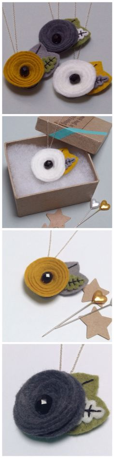 Felt flower necklaces in mustard grey and cream, available from Shirley Rainbow, on Folksy www.shirleyrainbow.co.uk