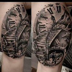 """Résultat de recherche d'images pour """"stairs to clock tattoo"""""""